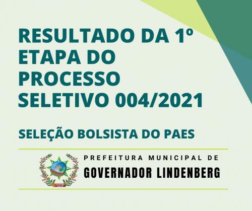 RESULTADO DA 1º ETAPA DO PROCESSO SELETIVO 004/2021 – SELEÇÃO BOLSISTA DO PAES